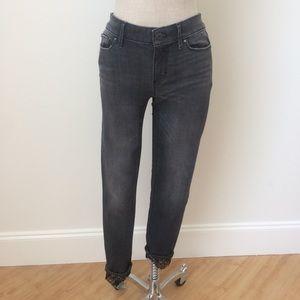 Lace-hem Charcoal Skinny Ankle Jean